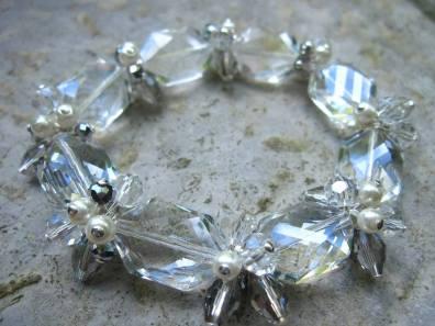 Crystal and Pearl Stretch Bracelet - Nina Spade