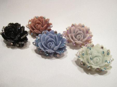 Crystal and Resin Rose Rings - Nina Spade