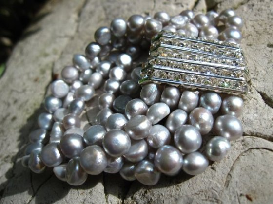 Freshwater Pearl and Crystal Cuff - Nina Spade