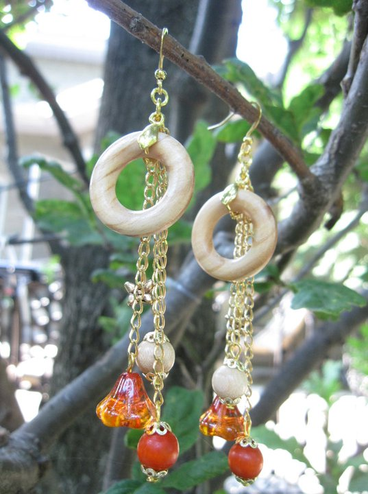 Wood and Glass Earrings - Nina Spade