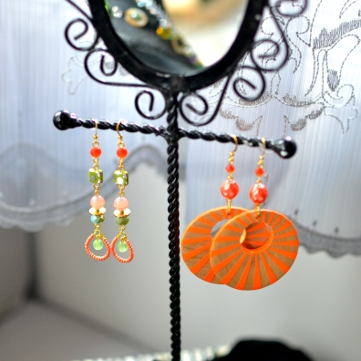 Earrings made from wood, glass, Swarovski, and more