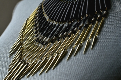 Festival Necklace with Wood, Golden elements, Seed Beads, and Swarovski Crystal