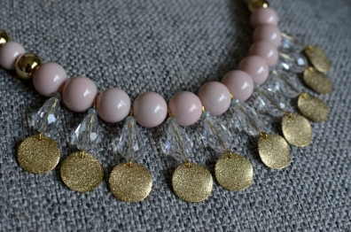 Pink Glass and Crystal Necklace