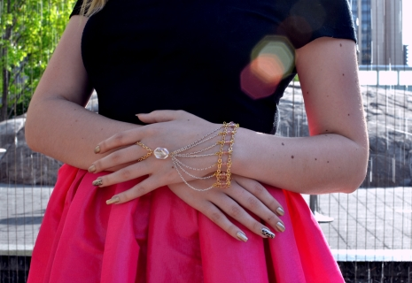 Delicate Crystals and Golden Chain make Mikayla's beautiful Hand Bracelet.